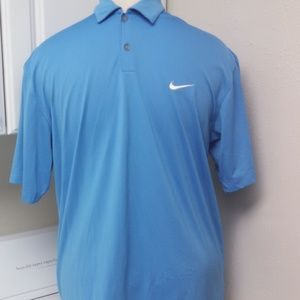 Nike Golf Polo Large Short Sleeve Shirt Blue